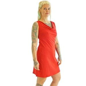 Hemp & cotton red sleeveless dress empire waist